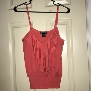 Synched bottom Pink ruffle tank top